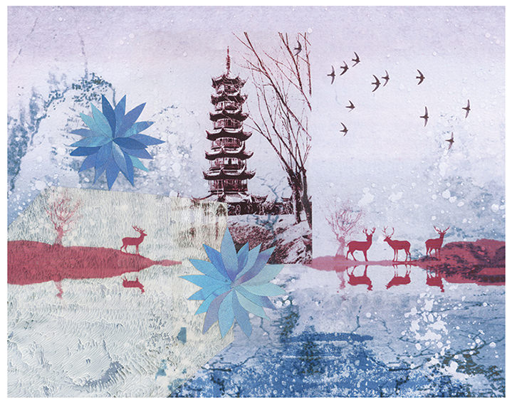Jackie Parsons, photo collage with painterly effect of a Japanese landscape