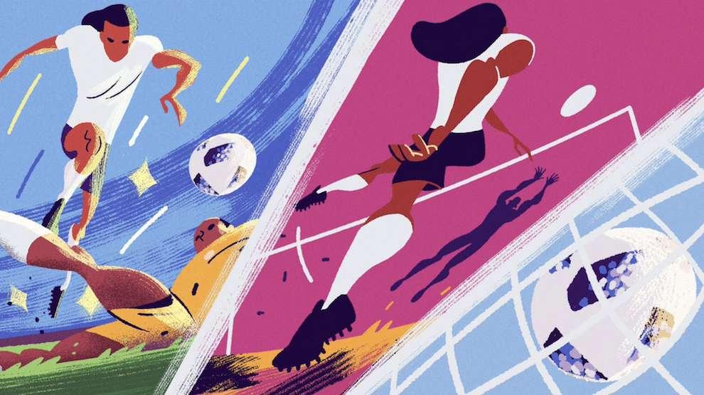 Jan Bielecki, Bold and textural digital illustration of a football match