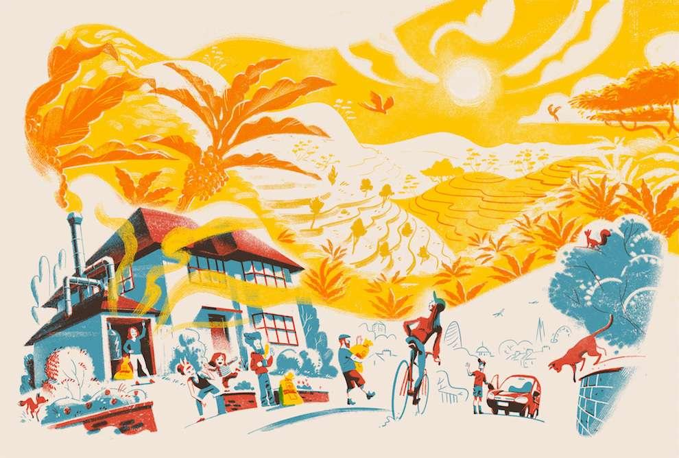 Jan Bielecki, Textural digital illustration of a street