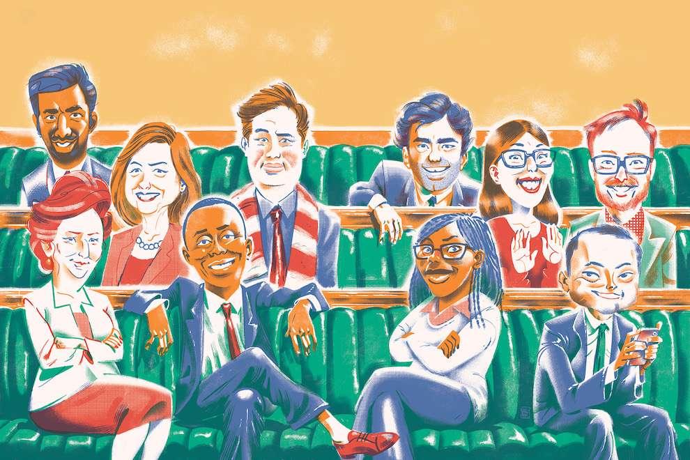 Jan Bielecki, Digital and textural portrait illustration of politicians sitting in sofas