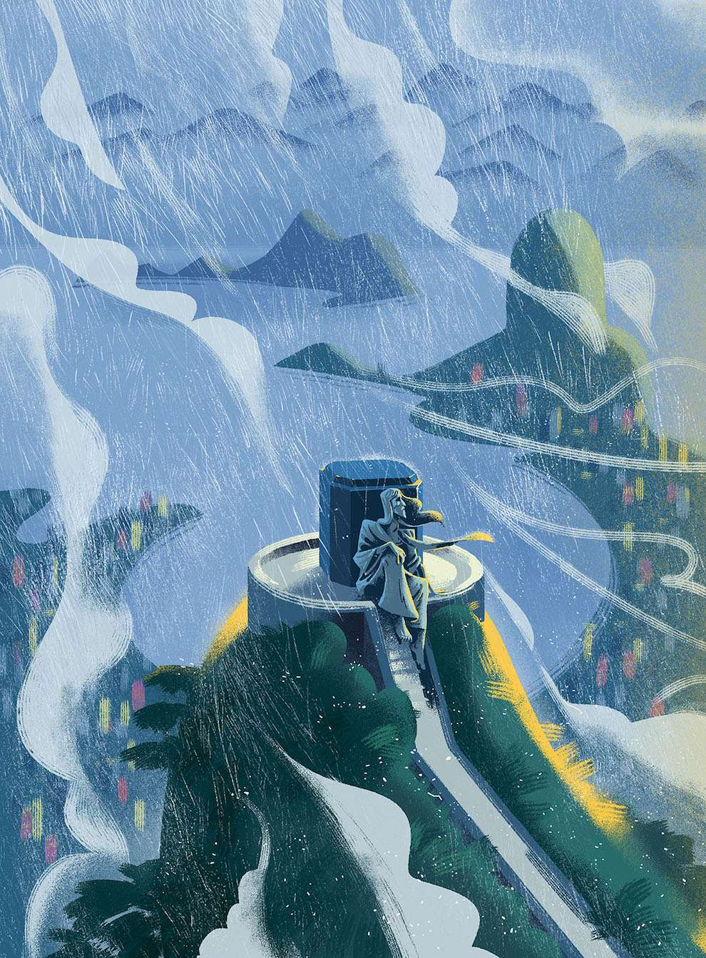 Jan Bielecki, Digital textural illustration for a magazine cover. Man sitting at the top of a hill during a rainy day