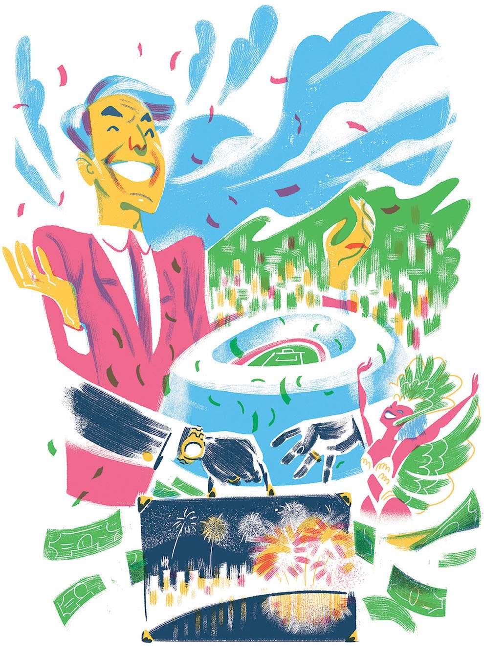 Jan Bielecki, Conceptual digital textural illustration of a man celebrating a money transaction in Rio de Jainero