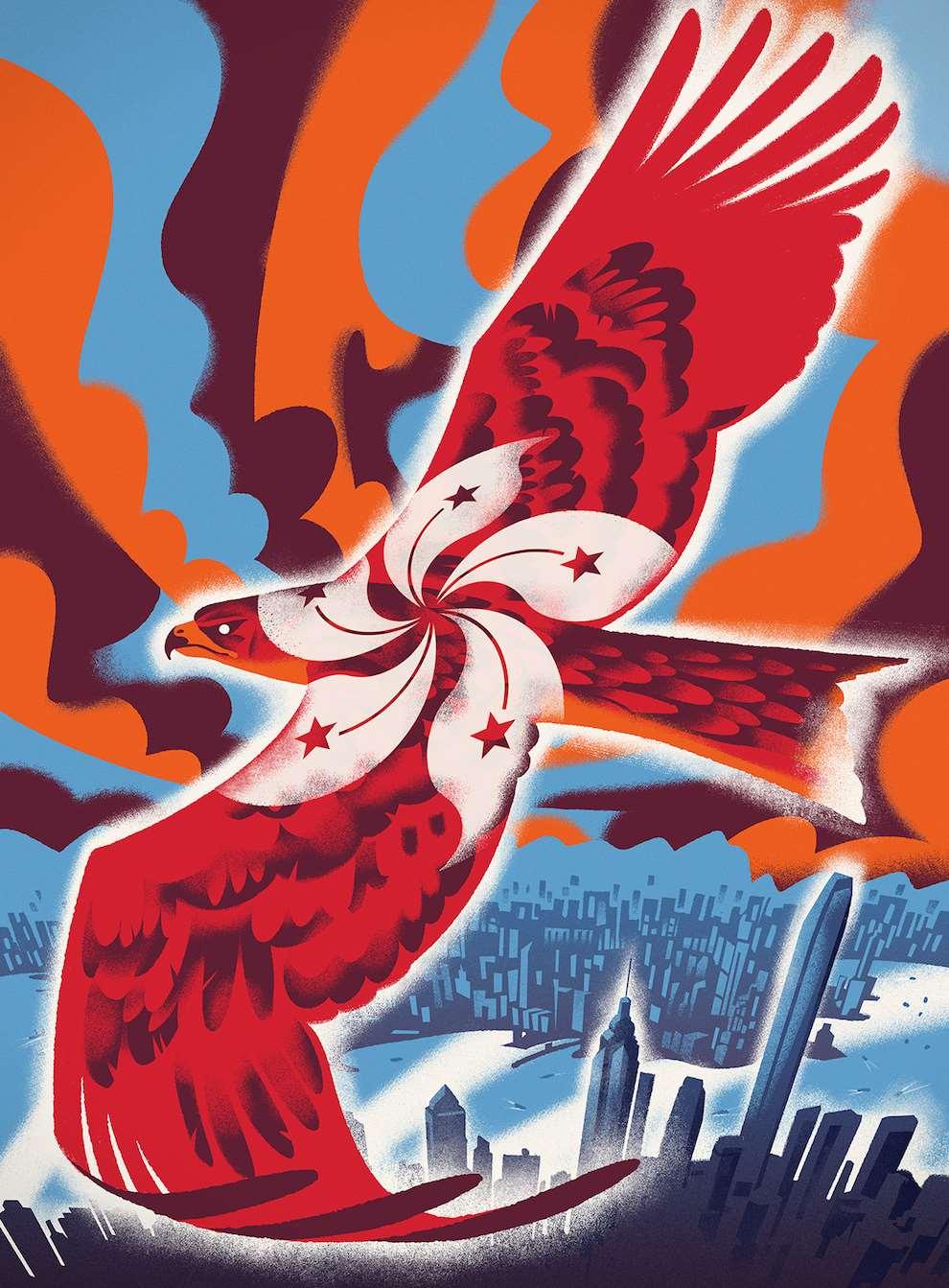 Jan Bielecki, Digital textural illustration of a black kite flying around a city