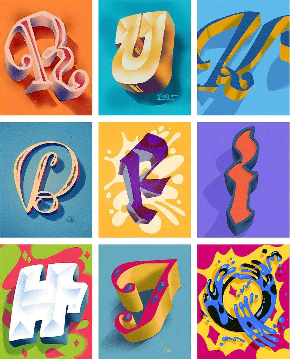 Jan Bielecki, Digital illustration of the alphabets. Typography
