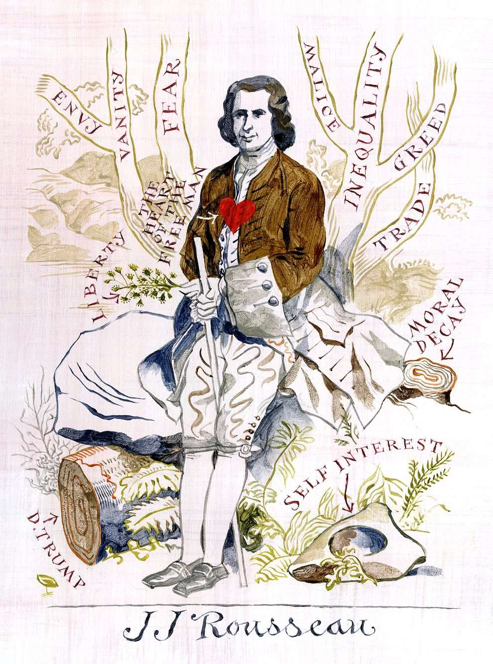 Jeff Fisher, Hand drawn painterly portrait of Jean Jacques Rousseau sitting on a tree