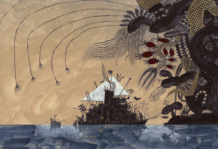 Jeff Fisher, Hand-painted dreamy illustration of a ship being attack by a surreal sea creature