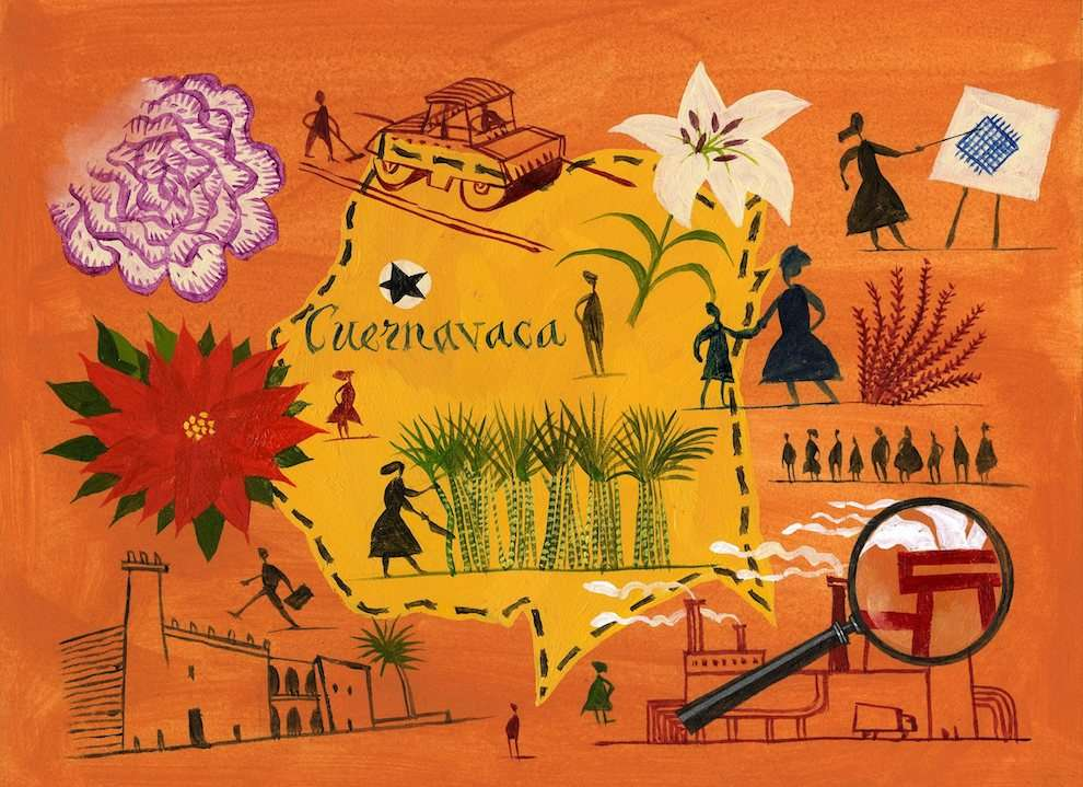 Jeff Fisher, Bright handpainted map of Guernavaca