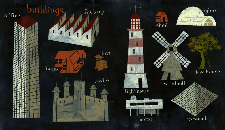 Jeff Fisher, Hand painting spot illustration of different buildings such as a castle, shed, igloo...