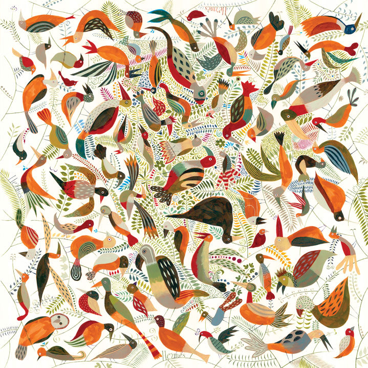 Jeff Fisher, Bright and colourful detailed hand-drawn bird pattern