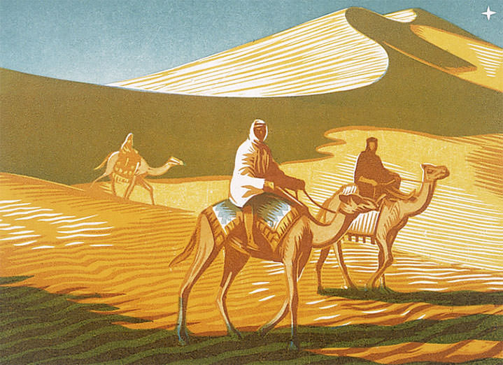 Jeremy Sancha, traditional wood cut illustration of a scene in a desert with people ridding camels
