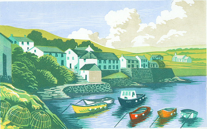 Jeremy sancha, landscape, woodcut, linocut, buildings, houses, architecture, foliage, wildlife, nature, linocut, boats, harbour,traditional, heritage