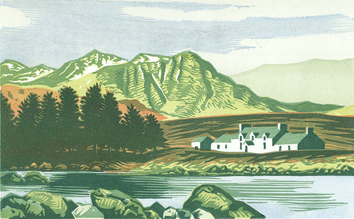 Jeremy Sancha, Jeremy sancha, woodcut landscape illustration of the Lake District. A house next to a lake with mountains in the background. Hand printed
