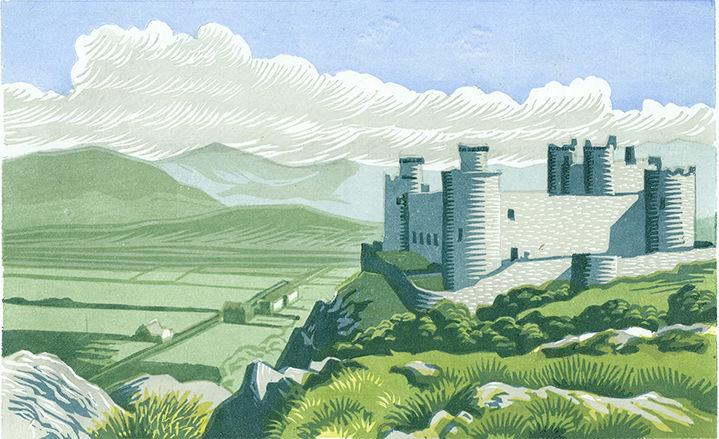 Jeremy Sancha, Jeremy sancha lino cut heritage illustration of a landscape with a castle