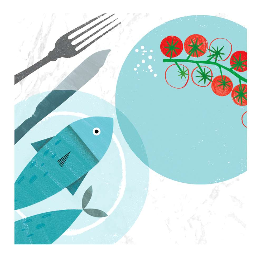 Jessie Ford, Digital illustration of a fish in a plate