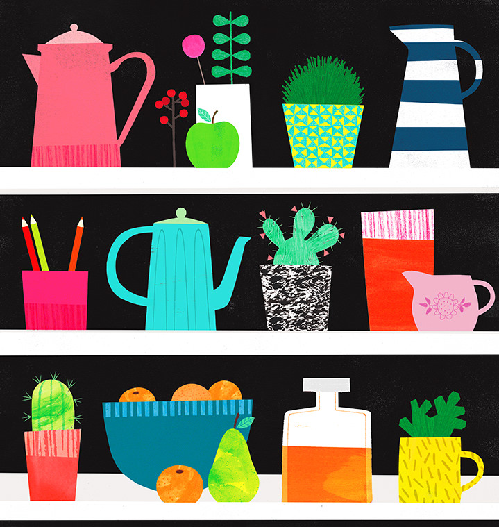 Jessie Ford, Bold and playful graphic illustration of plants on shelves
