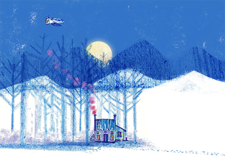 Jill Calder, Hand drawn illustration of a little house in a snowy landscape during the full moon