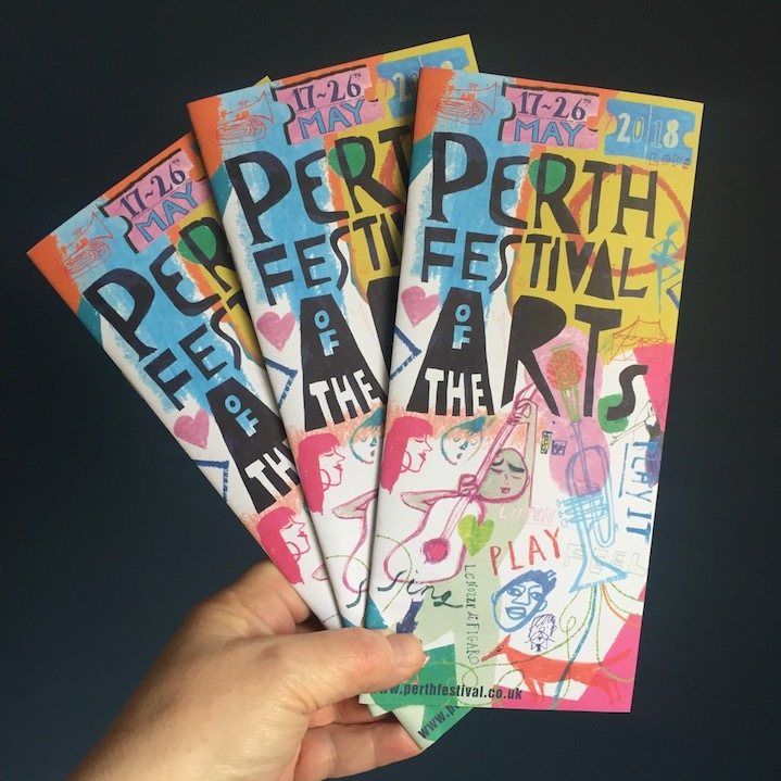 Jill Calder, Vibrantly illustrated flyer for Perth festival of the arts
