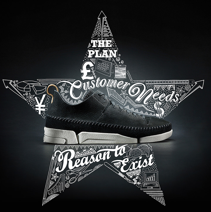 Jitesh Patel, Doodle art with fine line and typography in a star shape for a shoes campaign