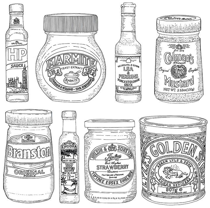 Jitesh Patel, Illustrations of condiments using fine line