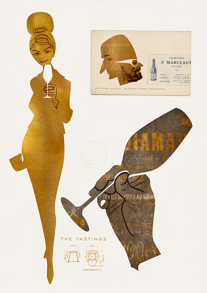 jonas bergstrand, wine, french, champagne, tasting, poster, campaign, advertising, graphic, hand drawn, exhibition, golden, cutout, woman, figure, illustration, illustrator