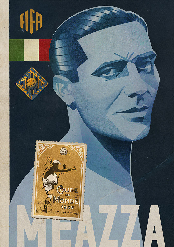 jonas bergstrand, poster, fifa, football, footballer, texture, blue, medal, museum, campaign, illustration, illustrator, hand drawn, graphic, bold, detail, texture, stamp, meazza, advertising, vintage, retro