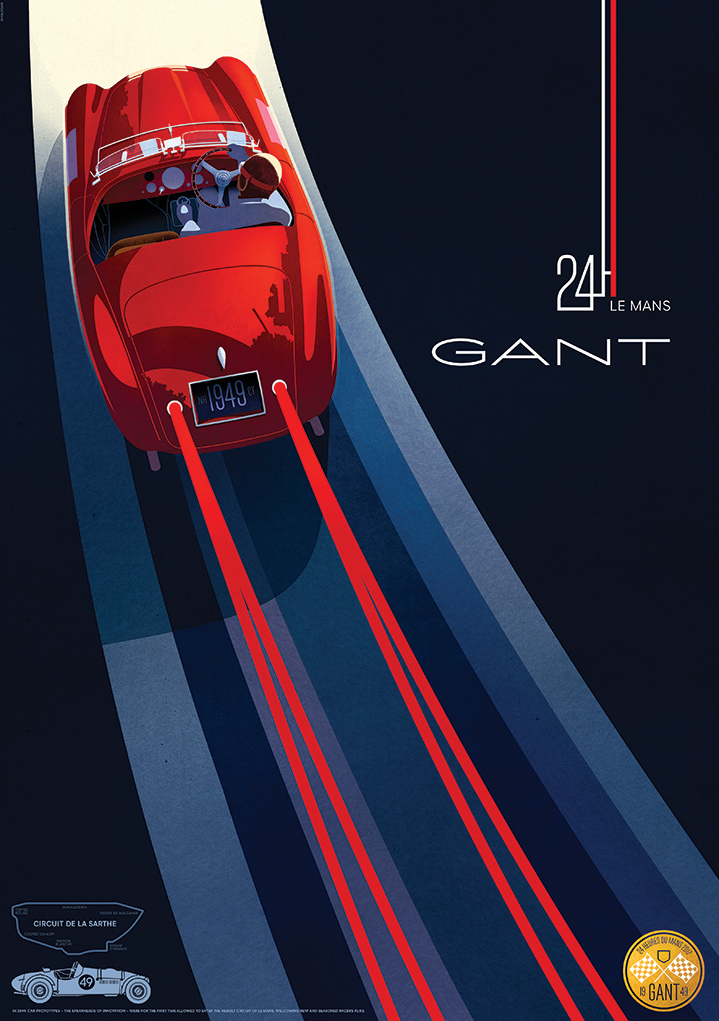 Jonas Bergstrand, Retro illustration of racing car for the 24H of le mans, gant campaign