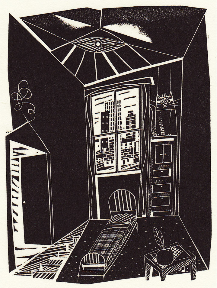 Jonathan Gibbs, Black and white hand printed illustration of a bedroom