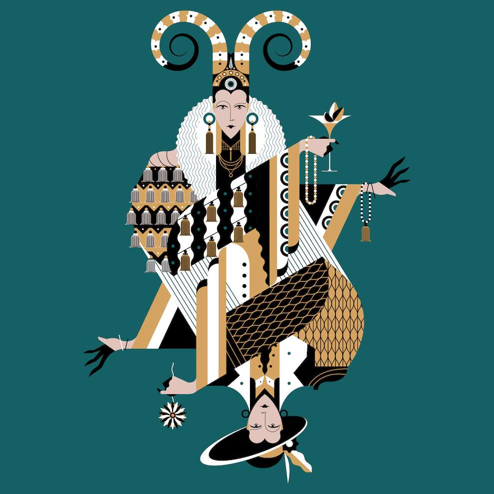Jonny Wan, Graphic and bold decorative art deco illustration of a woman