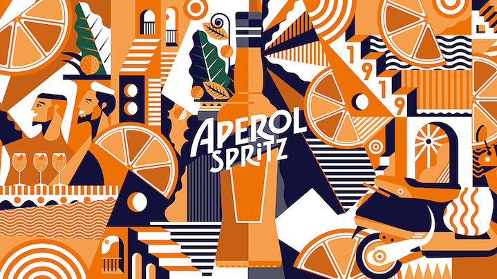 Advertising flat vector pattern for Aperol Spritz for an experiential outdoor mural. Orange and blue graphic elements and characters. Summery design of a bottle.