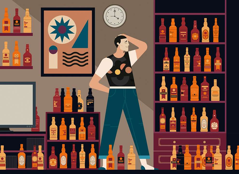 Jonny Wan, Art deco bold and colourful digital illustration for a drink advertising
