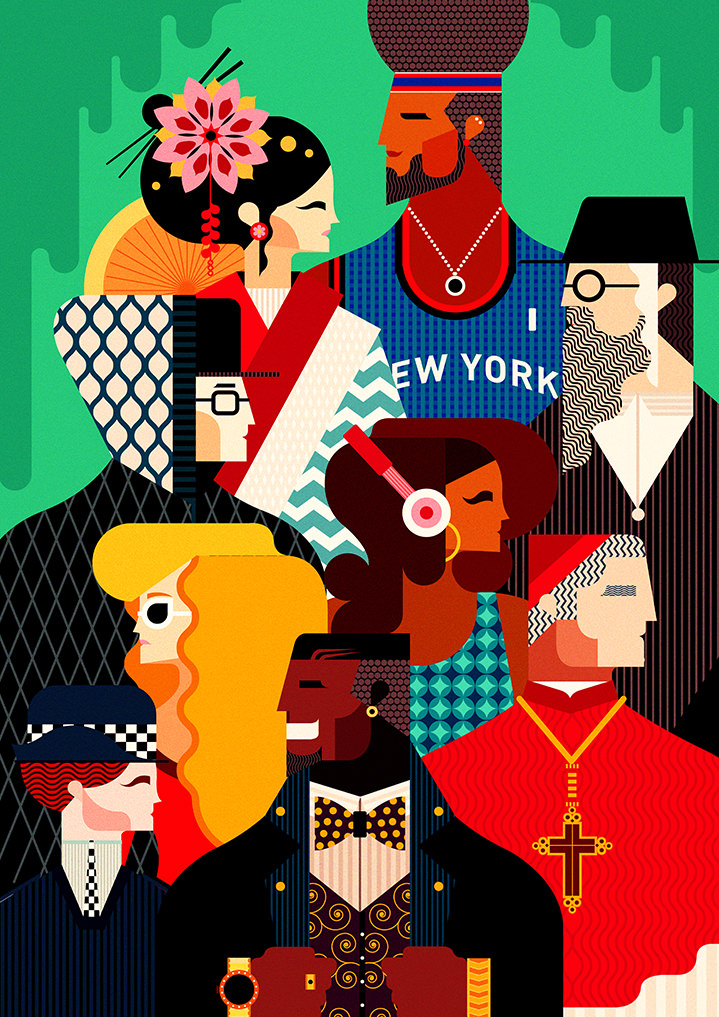 Graphic, vector style illustration of a crowd of multi-cultural people with abstract geometric patterns. Including a priest, a basketball player, a japanese woman, a jewish man and a policewoman.