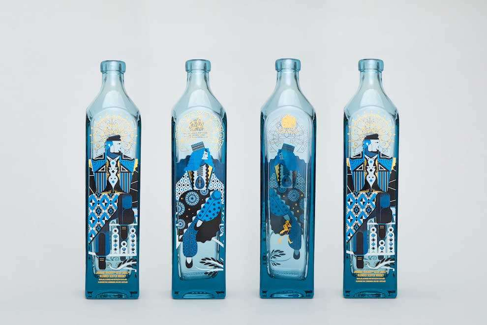Jonny Wan, Packaging design for Jonny Walker with blue graphic elements