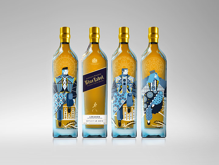 Packaging design for Jonny Walker with blue graphic elements