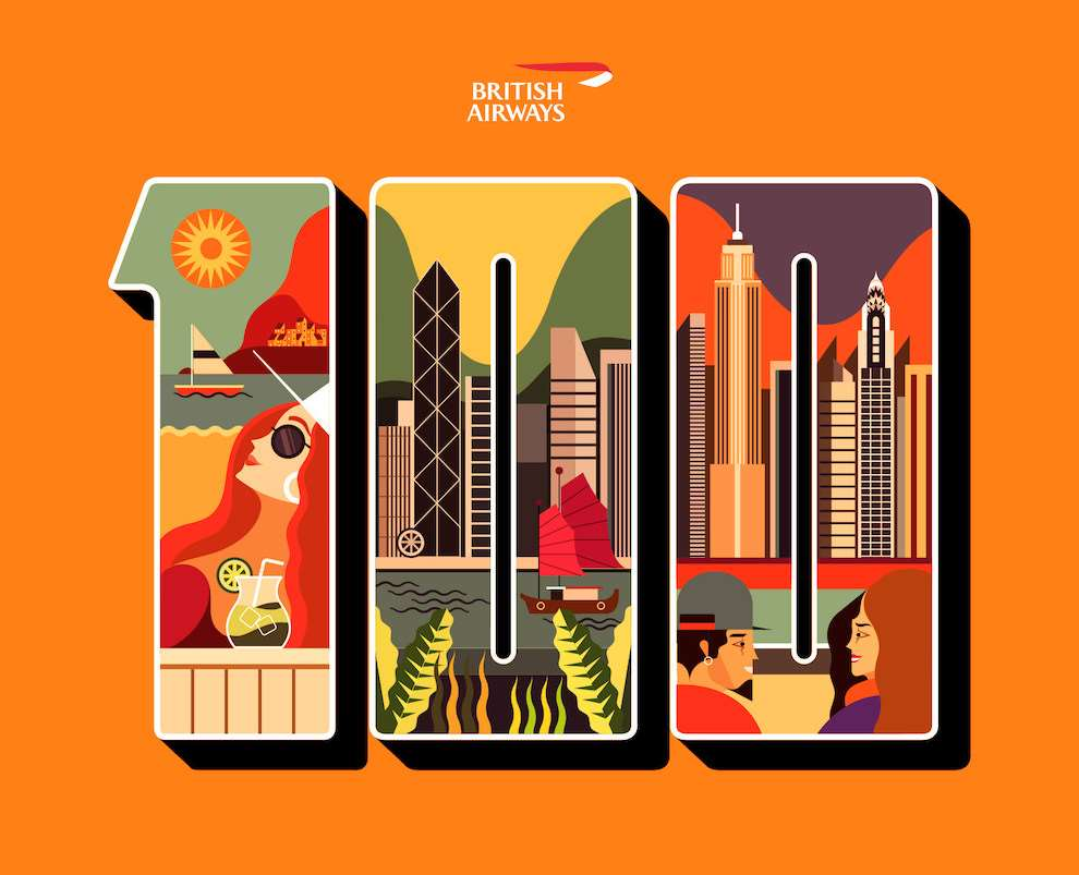 Jonny Wan, Bold and graphic illustration inspired by travel with figures within a cityscape. Cover Art for British Airways 'The Art Of Travel' which is a set of illustrated limited edition postcards.