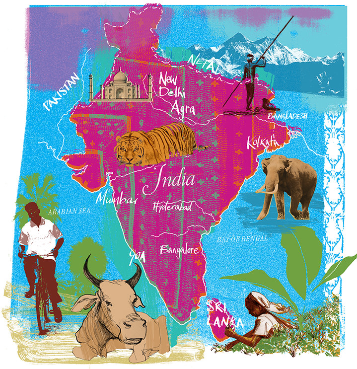 Kate Miller, Hand sketch illustration using collage and digital layers. Painterly map of India, with key landmarks and animals throughout, mix of landscape and architecture.