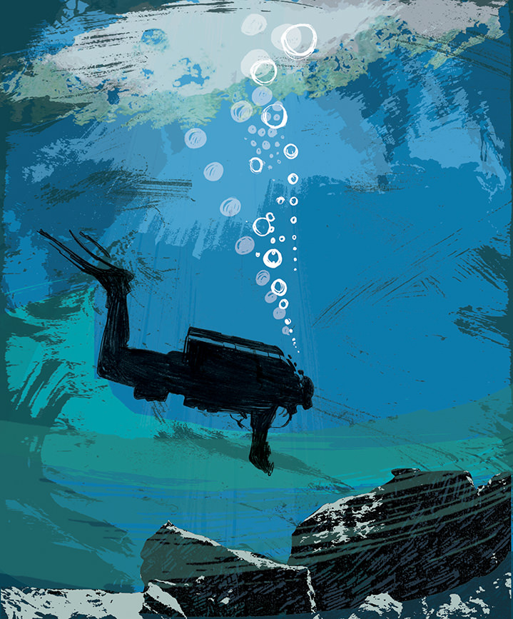 Kate Miller, Hand sketch illustration using collage and digital layers. Painterly scenery of the sea, a deep sea diver swimming.