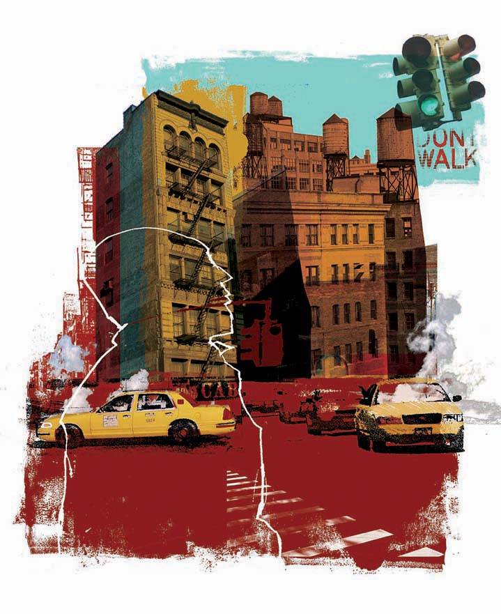 Kate Miller, hand sketch illustration using collage and digital layers. New york scene