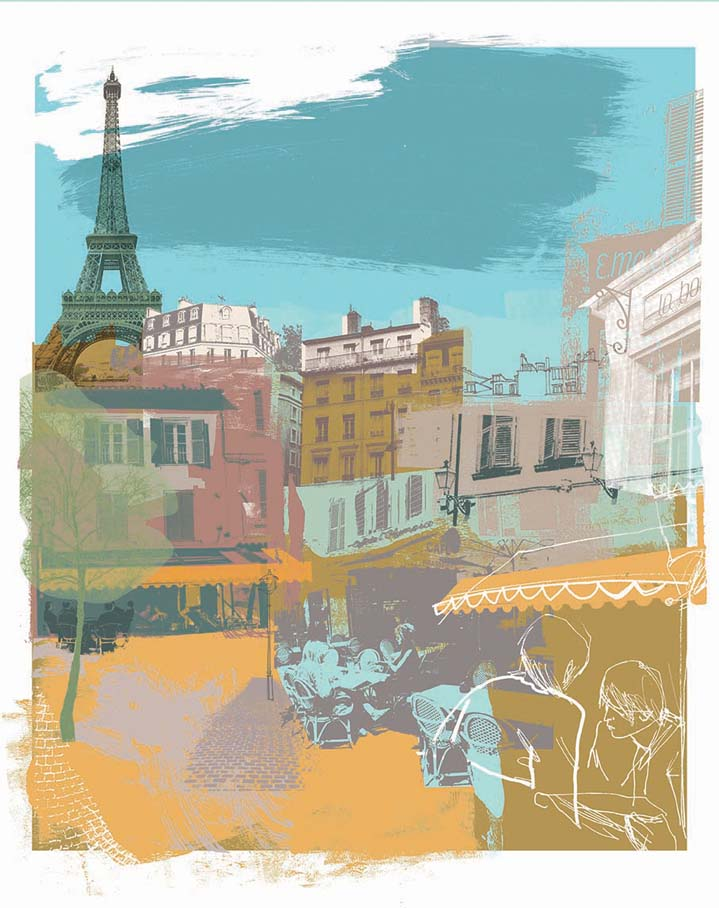 Kate Miller, Hand sketch illustration using collage and digital layers. Painterly scenery of Paris, a mix of landscape and cityscape, cafes and building.