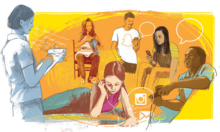 Kate Miller, Layered illustration of young teenager using their phones