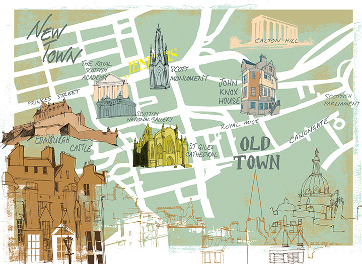 Kate Miller, Hand sketch illustration using collage and digital layers. Painterly map of Edinburgh Old and New Town, a mix of architectural line drawings.