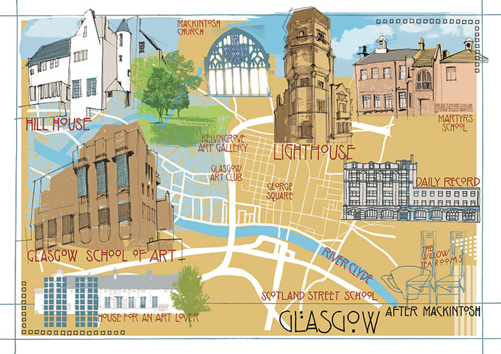 Kate Miller, hand sketch map illustration of Glasgow using collage and digital layers.