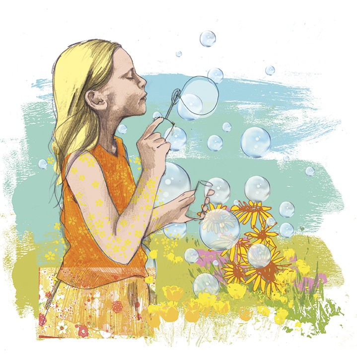 Kate Miller, Hand sketch illustration digitally colourise. Portrait of a little girl blowing bubbles in a field