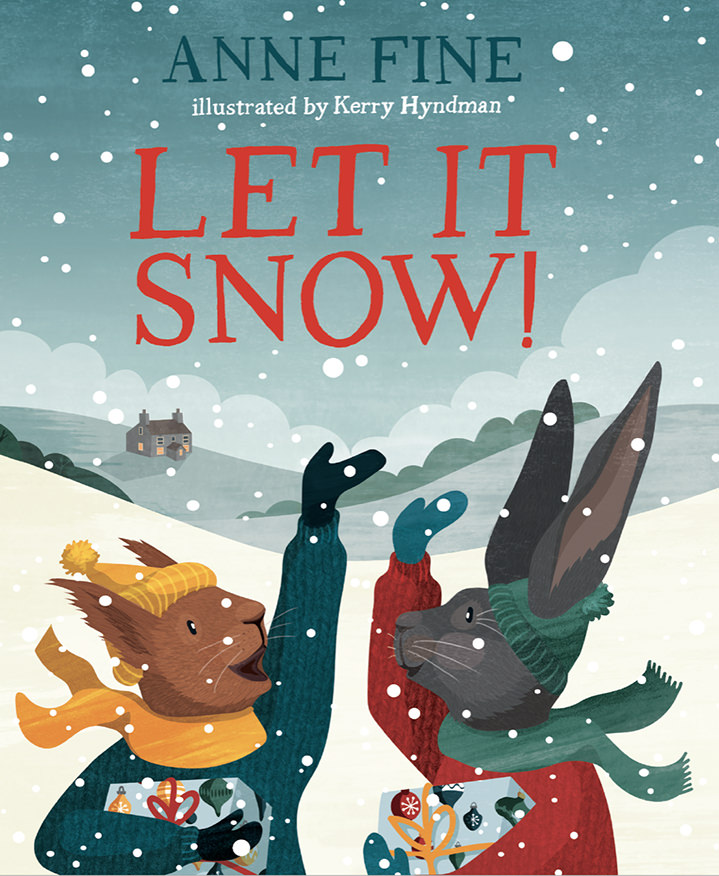 Kerry Hyndman, Book cover 'let it snow' with two animals characters playing in the snow