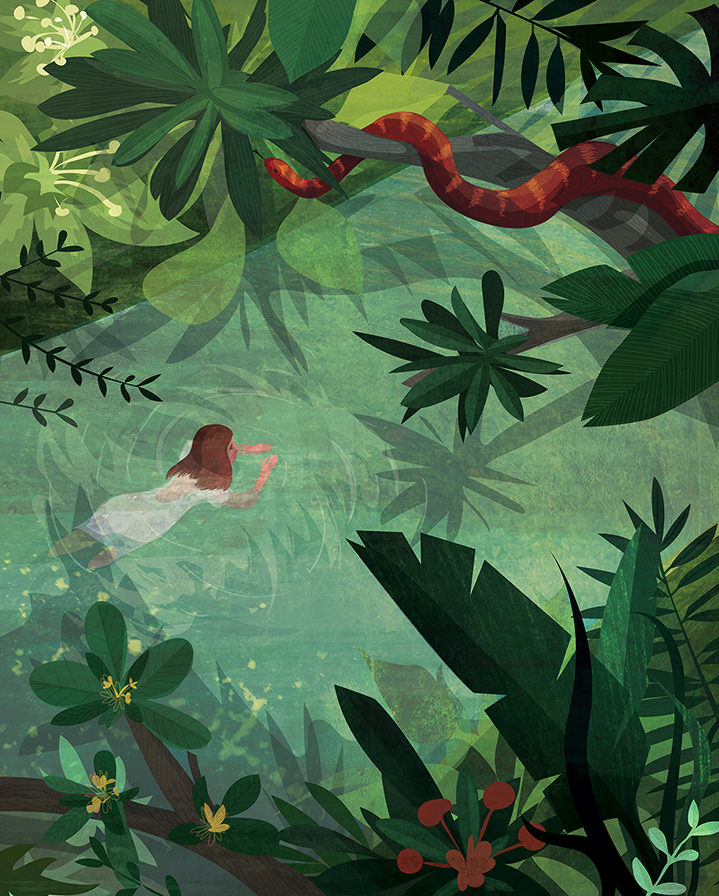 Kerry Hyndman, Kerry Hyndman digital illustration of a woman swimming in a jungle. vectors and textural