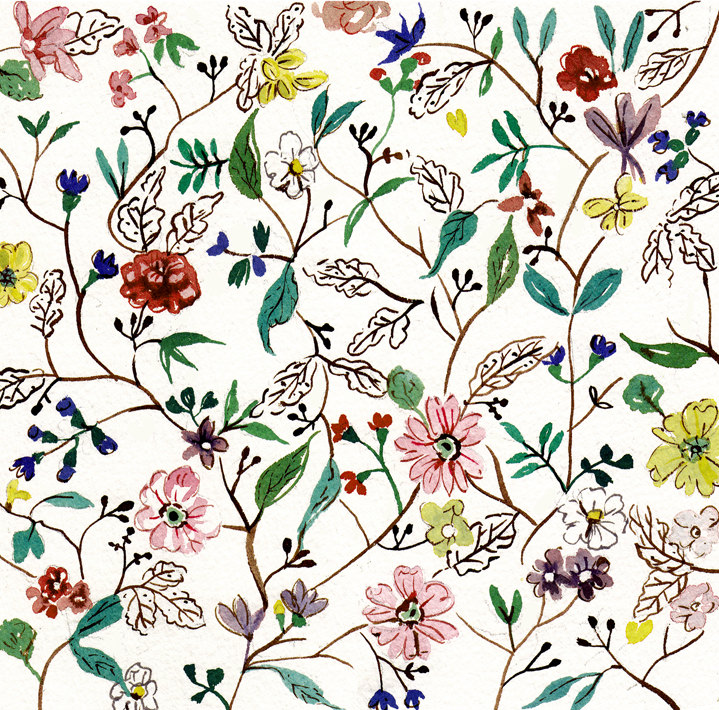 Lesley Buckingham, Delicate hand-painted botanical pattern