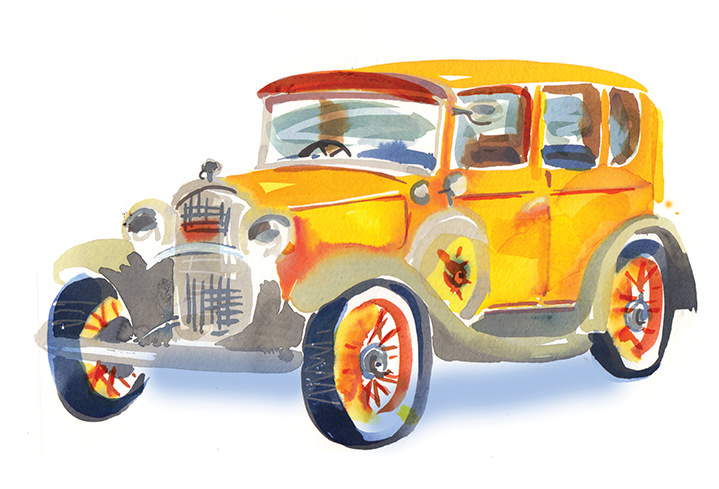 Lesley Buckingham, Hand-painted old school yellow car