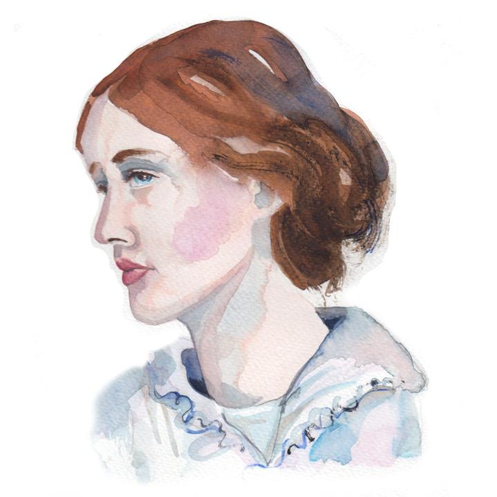 Lesley Buckingham, Watercolour portrait of a women