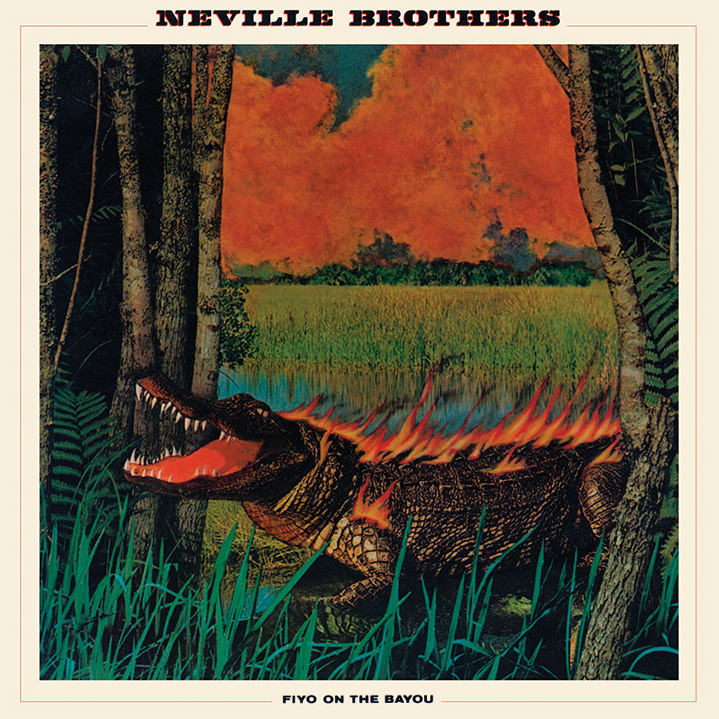 lou beach, illustration, collage, record sleeve, neville brothers, five on the bayou, crocodile, fire, swamp, trees, alligator, music, album, red, sky, heat