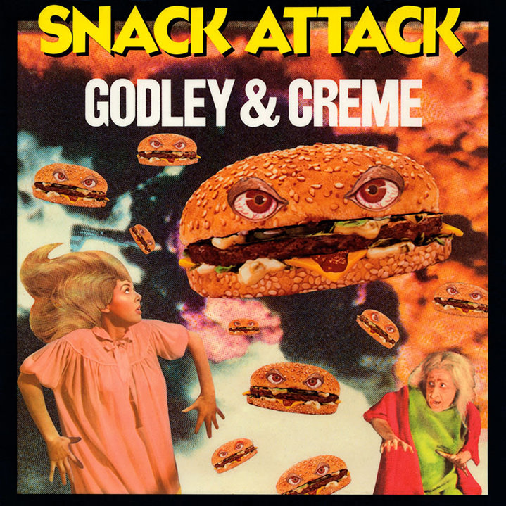 lou beach, illustration, collage, record sleeve, godley and creme, snack attack, burgers, girls, 80's, retro, vintage, humorous, thriller