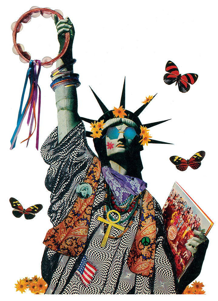 lou beach, illustration, collage, characters, abstract, illustrator, vintage, retro, statue of liberty, butterflies, bold, graphic
